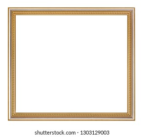 empty classic golden wooden picture frame with cut out canvas isolated on white background
