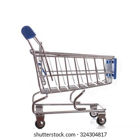 Empty classic shopping cart over white - Stock image