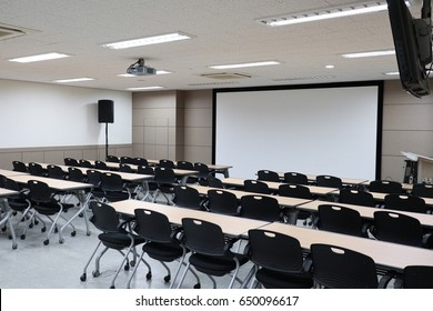Empty classroom preparing for education
