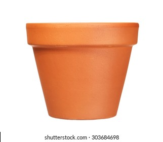 empty clay flower pot isolated on white  background