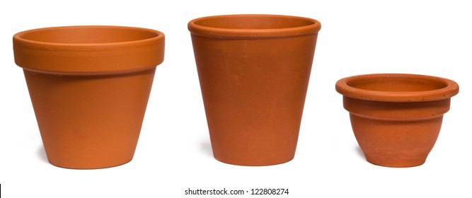 Empty clay plant pot isolated on white background.