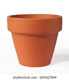 empty clay pot isolated over white background