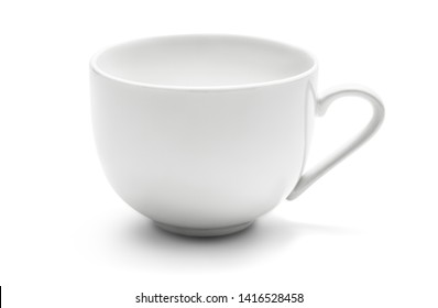 Empty and clean ceramic coffee cup isolated on white background with clipping path