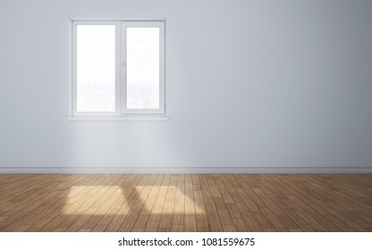 Empty clean room with light coming through window. 3d rendering