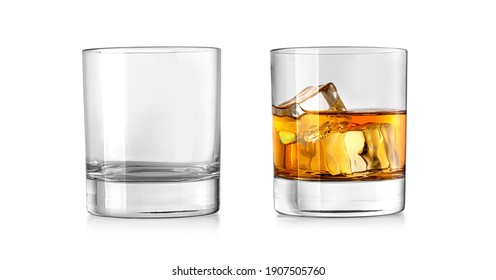 Empty and clean whiskey glass isolated on white background with clipping path