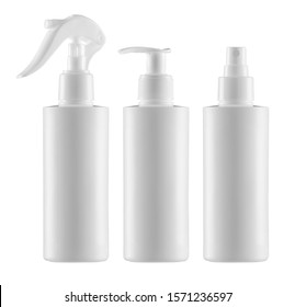 Empty, clean white plastic containers - three cylindrical bottles with minitrigger, atomiser sprays and pump dispenser - photographic mock-up - clipping paths - cosmetic or medical blank packaging