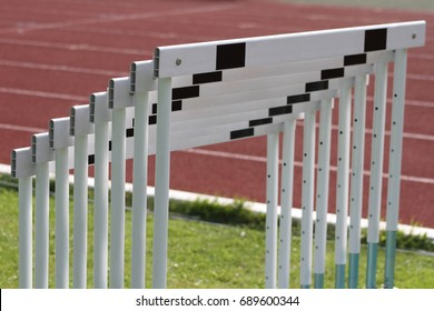 Empty close up hurdle on the track
