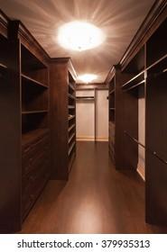 Empty closet in new luxury house