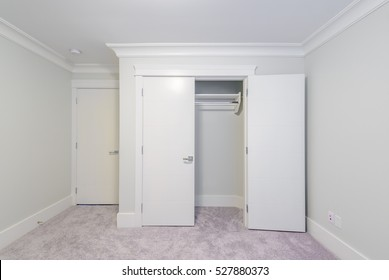 Beautiful Empty Closet, Working Closet, Cupboard In Bedroom.