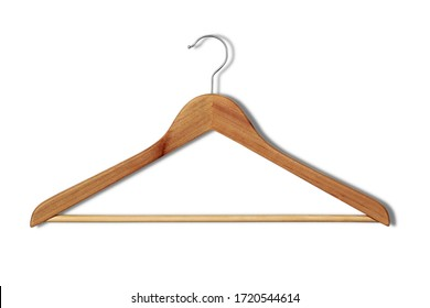 Empty cloth hanger with shadow on white background