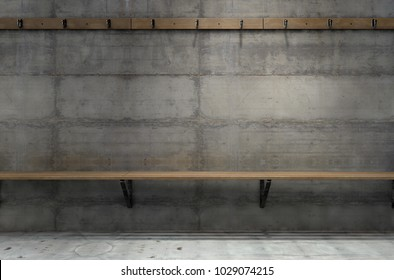 An empty clothes hanging rack above an empty wooden bench against a concrete wall in a rundown locker change room - 3D render