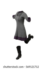 Empty clothes. Woman jumping wearing a grey and purple dress and high boots.