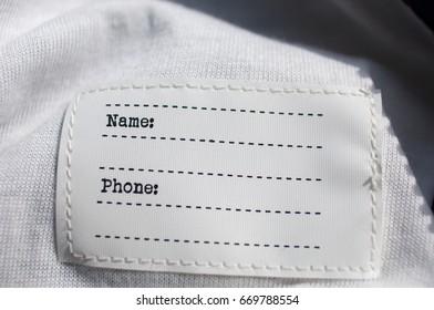 Empty clothing label.