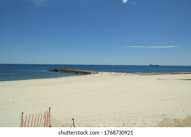 The empty coast of the sea at the Los Locos beach, Torrevieja, Spain