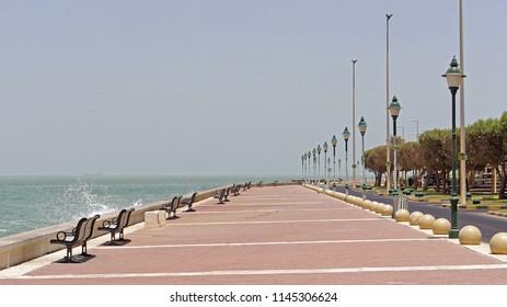 Empty coast walk promenade during day in Kuwait