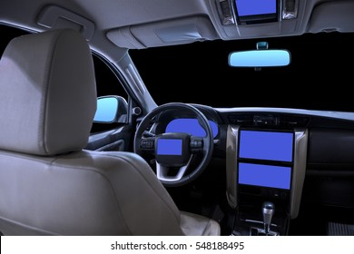 empty cockpit of futuristic vehicle and various displays