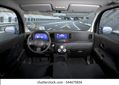 empty cockpit of vehicle, HUD(Head Up Display) and digital speedometer