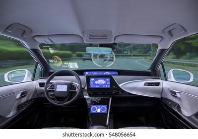 empty cockpit of vehicle, HUD(Head Up Display) and digital speedometer