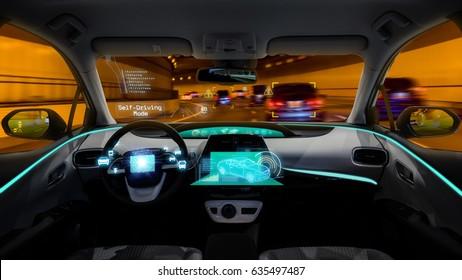 empty cockpit of vehicle night view, HUD(Head Up Display) and digital speedometer, autonomous car