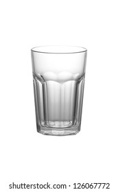 An empty cocktail glass against white background