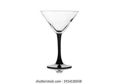 Empty cocktail glass isolated on white background. Empty glass of martini.