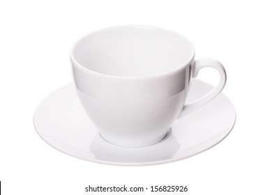 Empty coffee cup on white background, studio shot