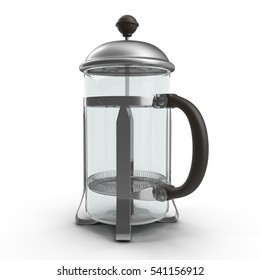 Empty coffee press on white. 3D illustration
