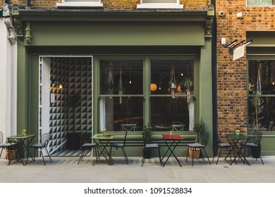 Empty coffee terrace with tables and chairs in marylebone london