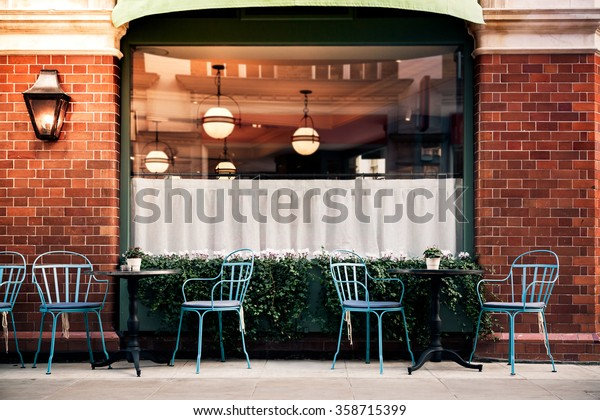 Empty Coffee Terrace Tables Chairs Marylebone Royalty Free