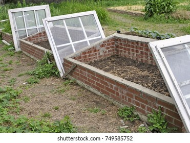 empty coldframe made out of brick and in the backyard