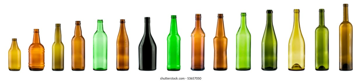 empty color bottles collection, isolated