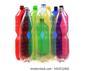 empty color pet plastic bottles isolated on the white background