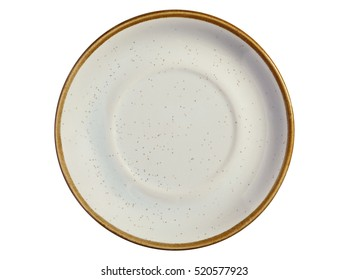 Empty colorful plate isolated on white background, top view