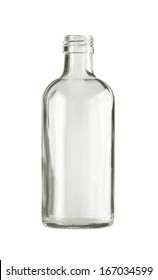 Empty colorless glass bottle, isolated.