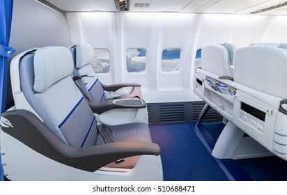 Empty comfortable business class airline seat