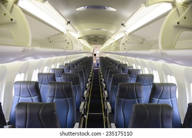 Empty commercial passenger aircraft cabin