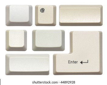 Empty computer keys isolated on white