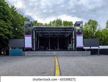 Empty concert stage at an outdoor concert without audience, performers or instruments