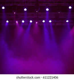 Empty concert stage with steam - background