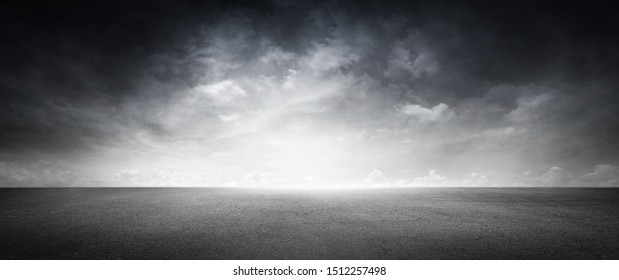 Empty Concrete Area Asphalt Floor with Cloud Sky Background