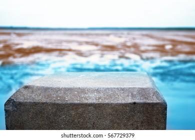 empty concrete bar into natural sea