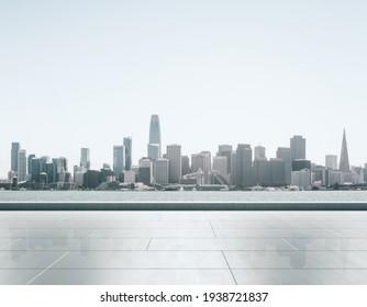 Empty concrete embankment on the background of beautiful San Francisco skyline at daytime, mockup