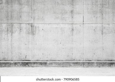 Empty concrete interior background, gray wall and floor