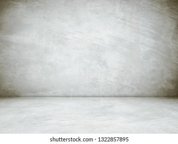 Empty concrete room and floor background, Perspective grey gradient concrete room for interior background, backdrop,  Gray grunge cement room with space for product display mockup, template