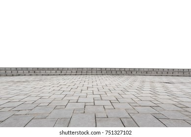 empty concrete square floor isolated on white background. Can use as a foreground material or present product.