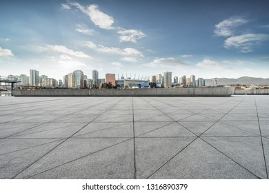 empty concrete square floor with skyline background, vancouver, canada.