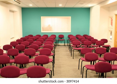 Empty conference hall ready for people