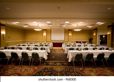 Empty conference room in the hotel ready for participants.