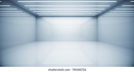 Empty contemporary white box room interior. Copy space. 3D Rendering