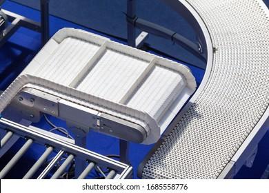 Empty conveyor belt in the factory during coronavirus economic crisis
